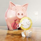 Euro coin leaving piggy bank Stock Photography