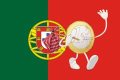 Euro coin leaving Portugal Royalty Free Stock Photo