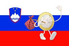 Euro coin leaving Slovenia Stock Photography
