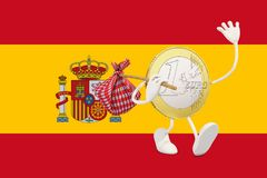 Euro coin leaving Spain Royalty Free Stock Images
