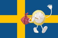Euro coin leaving Sweden Royalty Free Stock Image