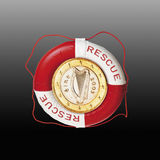 Euro coin in Lifebelt against coloured background stock photo