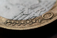 Euro coin macro Stock Photography