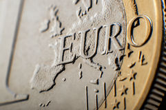 Euro coin macro. Macro view of one euro coin detail Royalty Free Stock Images