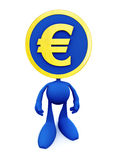 Euro Coin-Man. Figure of Cartoon Man with the symbolic Euro Coin instead of a head; isolated on white background. 3D rendered image Stock Photography