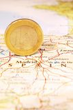Euro Coin on a Map of Spain Stock Photos