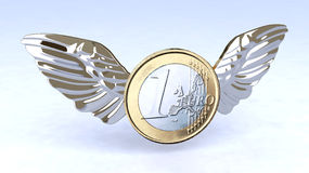 Euro coin with metal wings Stock Photo