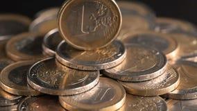 Euro coin on money pedestal stock footage