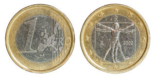 Euro coin obverse and reverse with path. Macro photography euro coin, obverse and reverse Royalty Free Stock Images