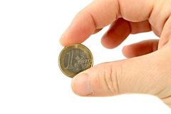 Euro Coin. One Euro coin isolated on white background Stock Image