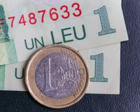 1 euro coin over 1 leu RON bills. Symbolizing the rate exchange supremacy of the european currency Stock Photography