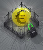 Euro coin in padlock locked fence concept Royalty Free Stock Photo