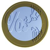 Euro coin with percent Stock Photo