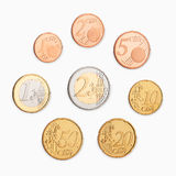 Euro coin. A pile of money coins on white background Stock Image