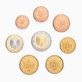 Euro coin. A pile of money coins on white background Royalty Free Stock Image