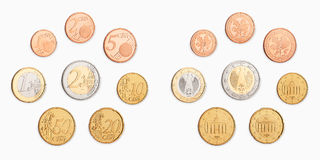 Euro coin. A pile of money coins on white background Royalty Free Stock Photos