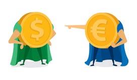 Euro coin pointing at dollar super hero Royalty Free Stock Photos