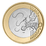 Euro coin with question mark. On white Stock Photos