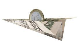 Euro coin riding dollar paper plane. 1 euro coin riding a dollar bill paper plane against white background Royalty Free Stock Photo