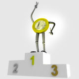 Euro coin robot as winner standing on podium best place illustration Stock Image