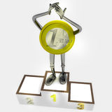 Euro coin robot as winner standing on podium ceremony illustration Royalty Free Stock Photography