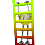 Euro coin robot climbs up the ladder illustration Royalty Free Stock Image