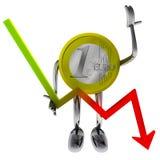 Euro coin robot hold descending graph illustration Stock Image