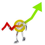 Euro coin robot hold graph of growth illustration Royalty Free Stock Photos