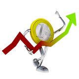 Euro coin robot hold rising economy graph illustration Royalty Free Stock Photography