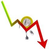Euro coin robot holding descending graph illustration Stock Images