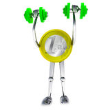 Euro coin robot holding his dimbbell illustration Royalty Free Stock Photos