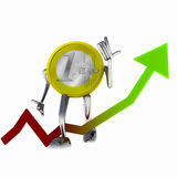 Euro coin robot improve stock growth illustration Royalty Free Stock Photos