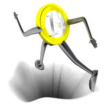 Euro coin robot jumping above hole illustration Royalty Free Stock Image