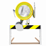 Euro coin robot jumping above hurdle front view illustration Royalty Free Stock Photos