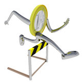 Euro coin robot overcomes an obstacle illustration Stock Photo