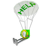 Euro coin robot parachutisthelp illustration Royalty Free Stock Photography