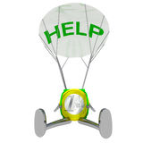 Euro coin robot paratrooper airdrop help illustration Stock Images