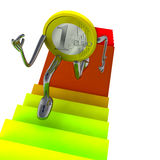 Euro coin robot running up on staircase illustration Royalty Free Stock Photos