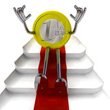 Euro coin robot sitting on red carpet perspective illustration Royalty Free Stock Photo
