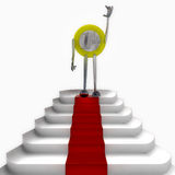 Euro coin robot standing on red carpet illustration Royalty Free Stock Image