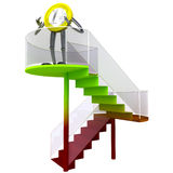 Euro coin robot standing at the top of stairs illustration. Euro coin robot victor standing at the top of stairs rendering illustration Stock Photo