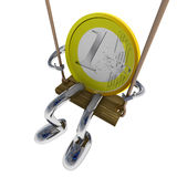 Euro coin robot on the swing illustration. Euro coin robot on the swing rendering illustration Royalty Free Stock Photography