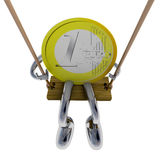 Euro coin robot swinging on a swing top view illustration Royalty Free Stock Image