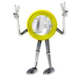 Euro coin robot victor showing succes illustration Royalty Free Stock Photography