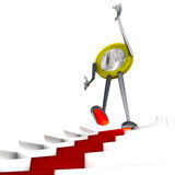 Euro coin robot walk down on red carpet staircase illustration Royalty Free Stock Photography
