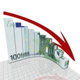 Euro coin rond de graphique Photos stock