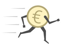 Euro coin running isolated. Euro coin character running isolated on white. Money, finance, currency, savings, investment, exchange rate, panic, crisis concept Royalty Free Stock Photo