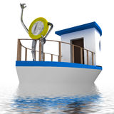 Euro coin sailing on the sea illustration Royalty Free Stock Photos