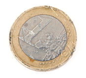 Euro coin with scratches Royalty Free Stock Images