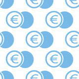 Euro coin seamless pattern. Euro coin white and blue seamless pattern for web design. Vector symbol Stock Photo
